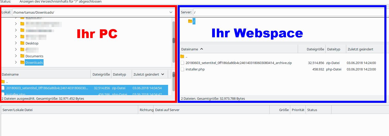 Webseite umziehen: mit FileZilla